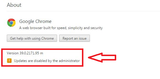 A screenshot of Google Chrome update message notifying that the update has been blocked by the administrator.