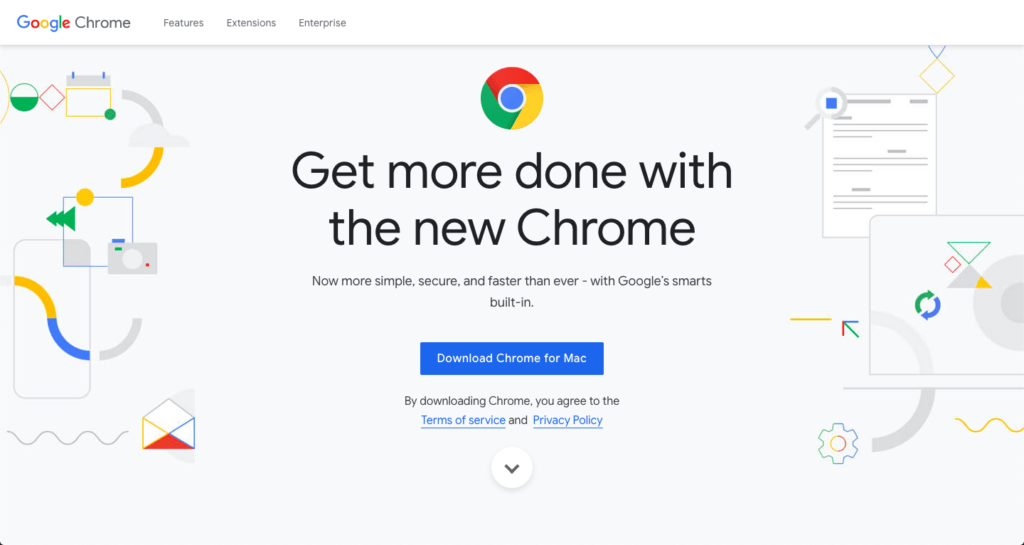 A screenshot of the Chrome download page