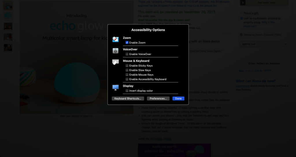 A screenshot of Accessibility Options on a Mac
