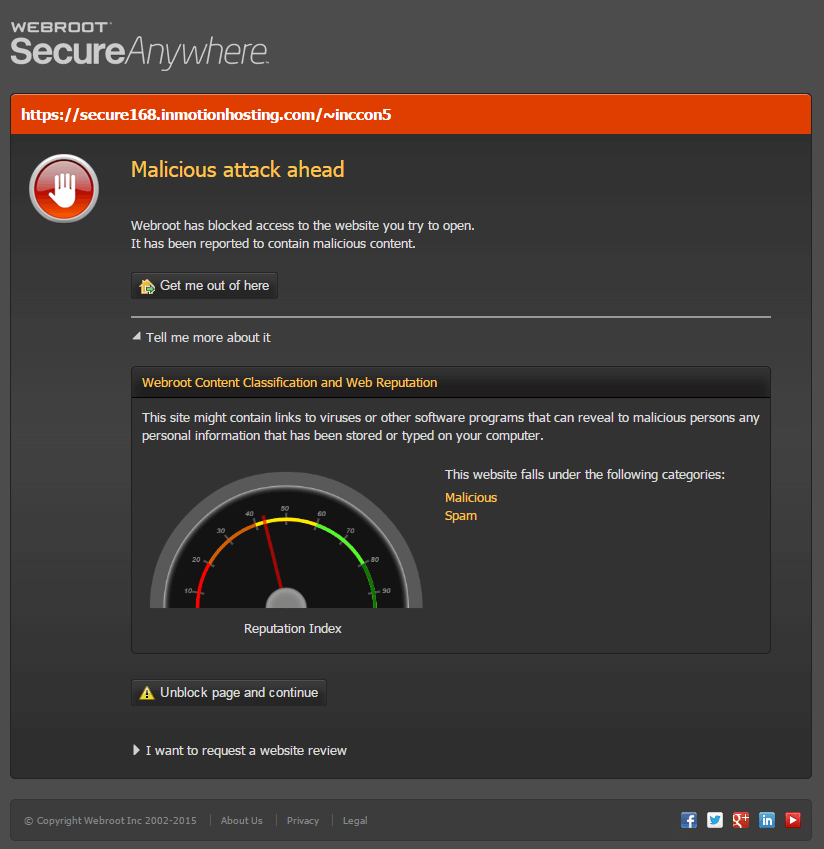 A screenshot of the Webroot SecureAnywhere interface warning of a malware threat.