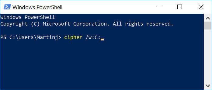 "A screenshot of Windows PowerShell and accessing ""Cipher""."