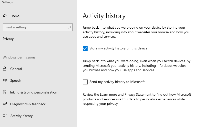 """A screenshot of the settings on Windows 10 and the section """"Activity History""""."""