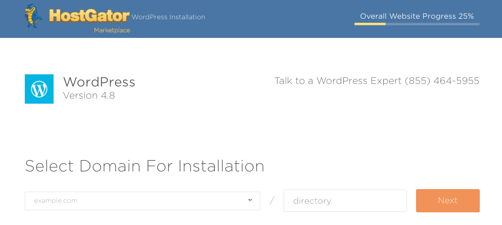 The domain installation page