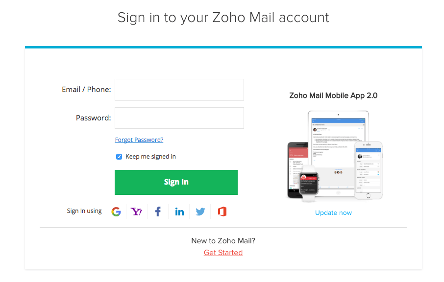 Zoho email login screen
