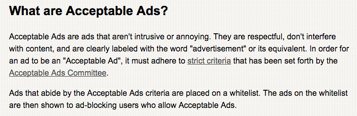 A screenshot of AdBlock Plus's terms for acceptable ads.