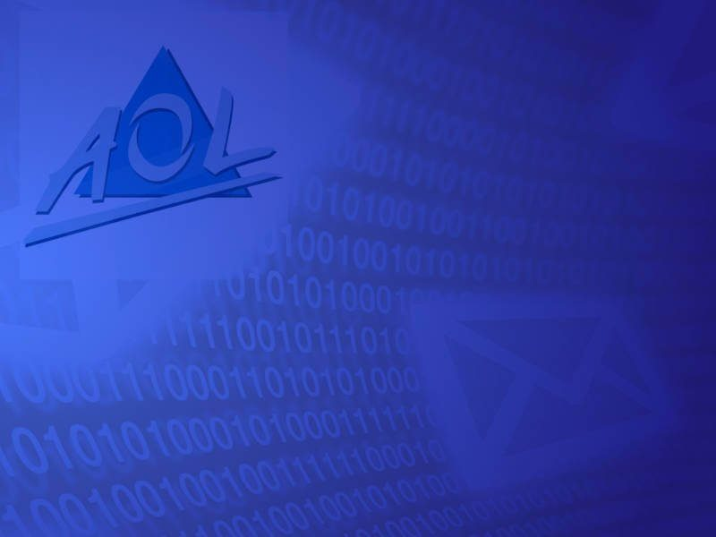 A AOL logo on a screen with binary code and email icon