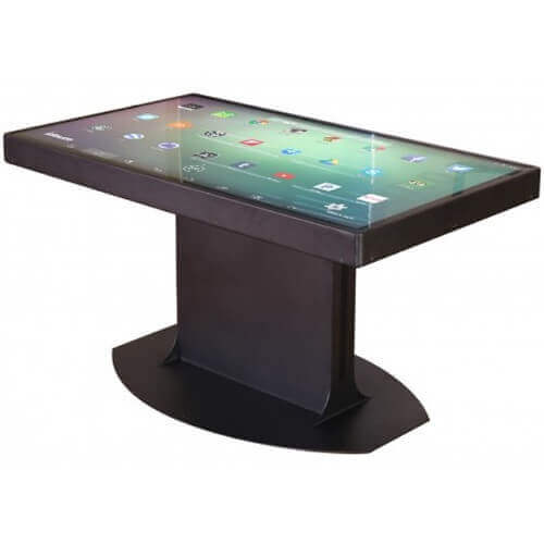 A black table that is a tablet device, aka a smart table