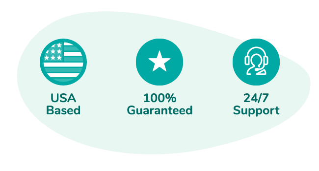 "A banner of icons saying, ""USA based, 100% guaranteed, 24/7 support"""