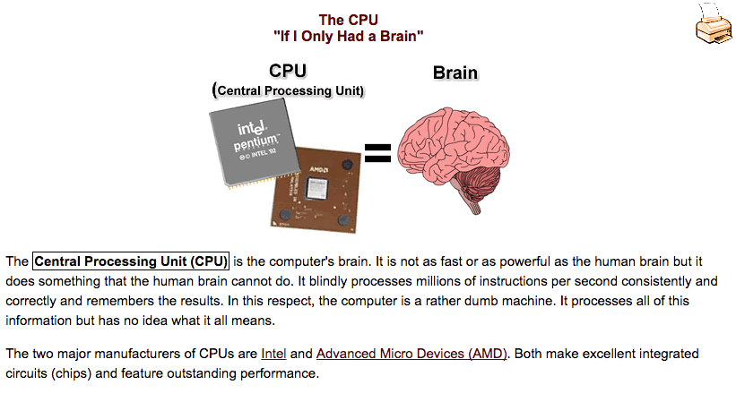 An infographic from Senior's Guide to Computers that explains that a CPU is the brain of a computer/