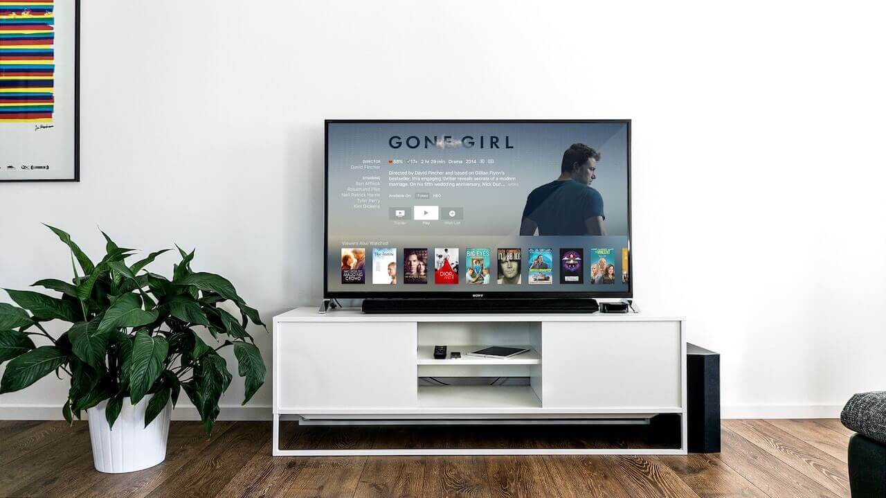 A living room with a white tv stand and the TV is on with the movie Gone Girl on the screen. Next to the TV stand is a green plant in a white pot.