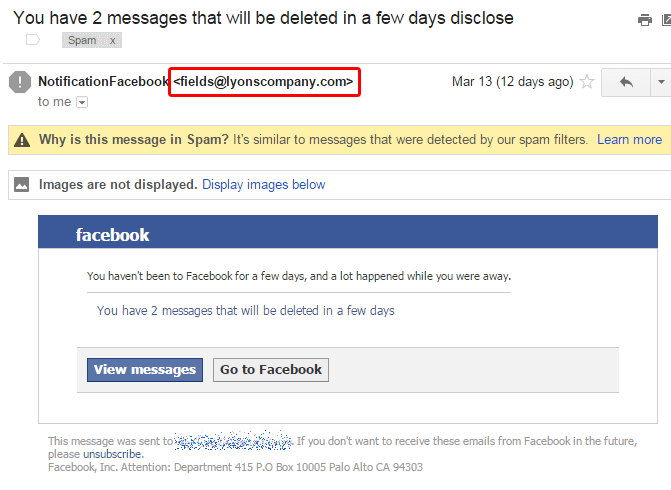 Facebook phishing example