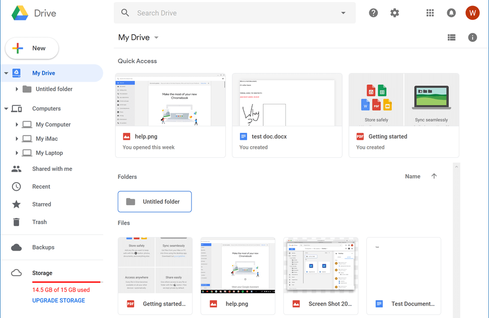 A screenshot of the main page for Google Drive