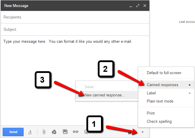 A screenshot of where to click in order to create Canned Responses in Gmail