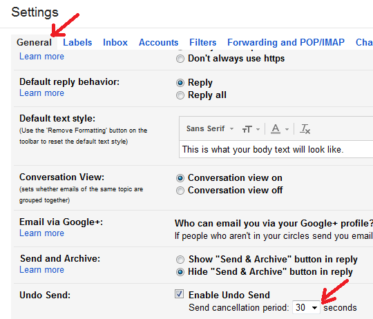 A screenshot of where in Gmail settings to adjust the time for the cancellation or Undo Send of an email