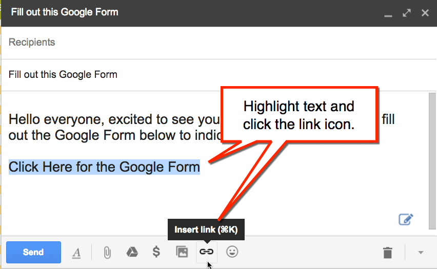 A screenshot of how to highlight text and the button to click in Gmail in order to hyperlink the text