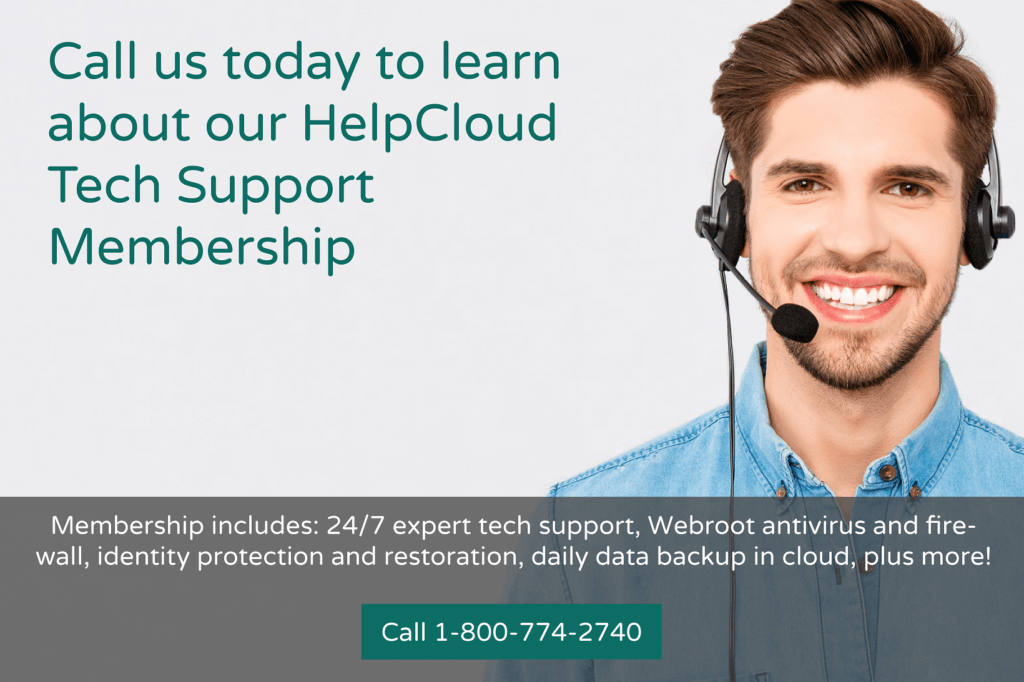 An ad for HelpCloud tech support membership, call 1-800-774-2740 for details.