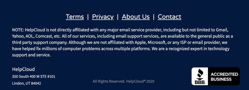 Legal disclaimer from HelpCloud