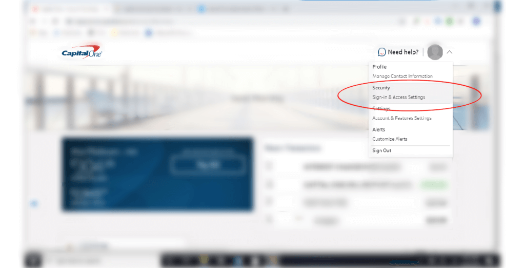A screenshot of where to click to change your Capital One password in the settings.