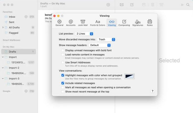 """A screenshot of Apple Mail """"Viewing"""" settings."""