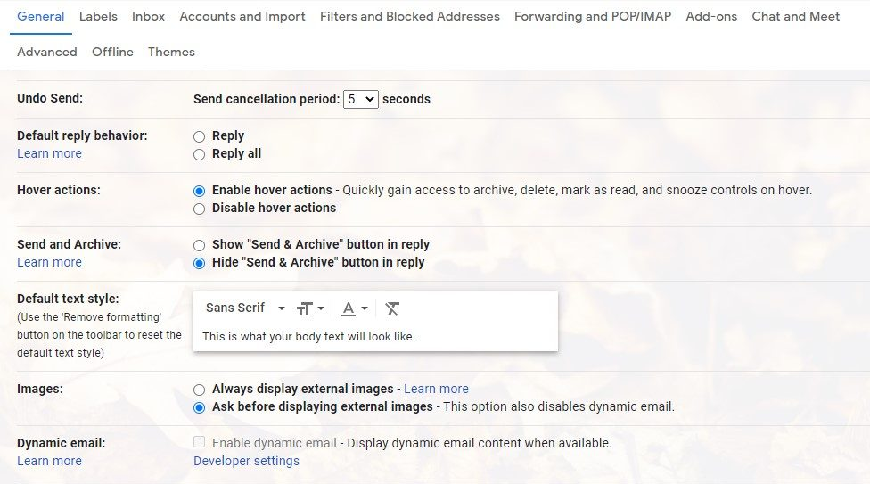 A screenshot of the Gmail settings and the images settings.