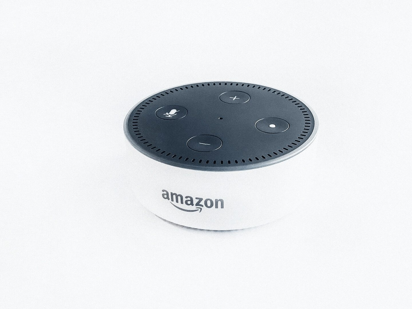 An white Amazon Alexa with a black top sitting with a completely white backdrop