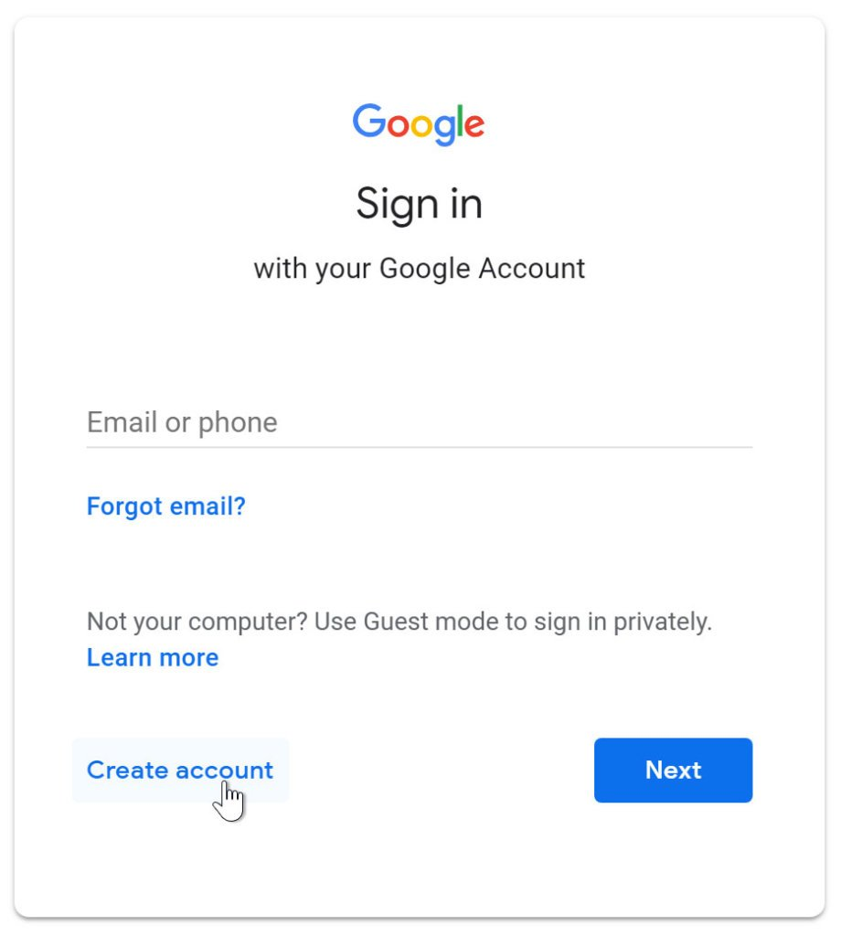 """A screenshot of the Google sign in page. The cursor is clicking on the """"Create Account"""" link."""