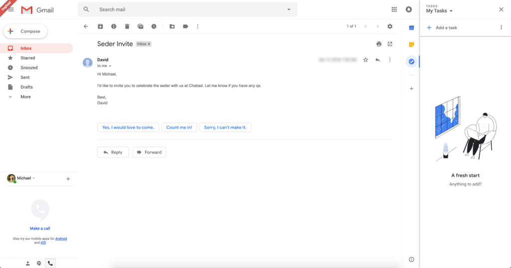 A screenshot of an email in Gmail.