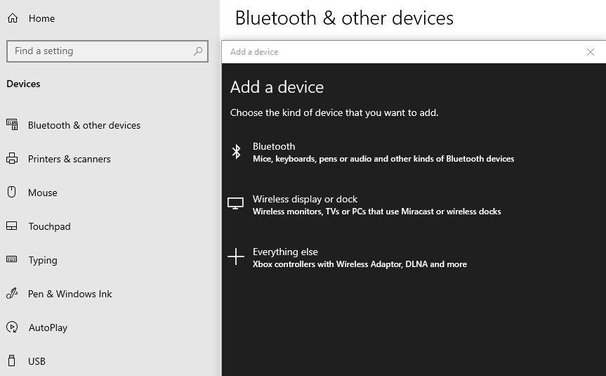 A screenshot of the Bluetooth and other devices settings with the Add a device section.