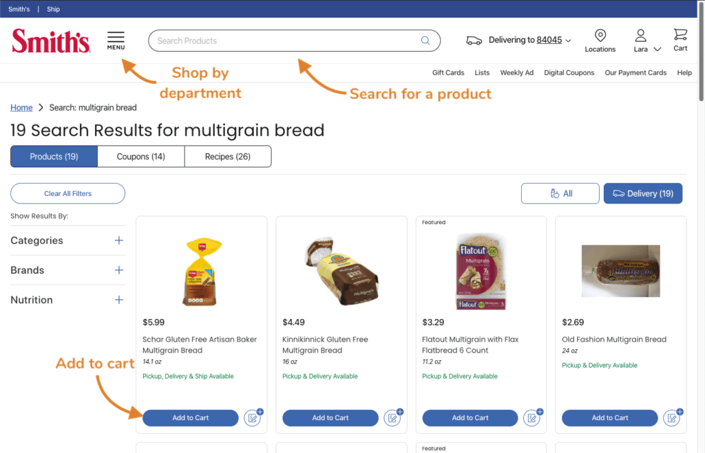 Image of Smith's website and arrows pointing at the search bar, department menu, and the button to add an item to your cart.
