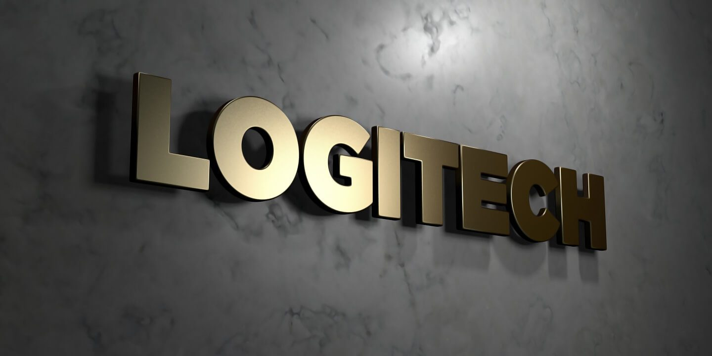 Logitech - Gold sign mounted on glossy marble wall - 3D rendered royalty free stock illustration. This image can be used for an online website banner ad or a print postcard.