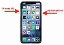 "An image of an iPhone with illustrated arrows highlighting the ""volume up"" and ""power button"" on an iPhone"