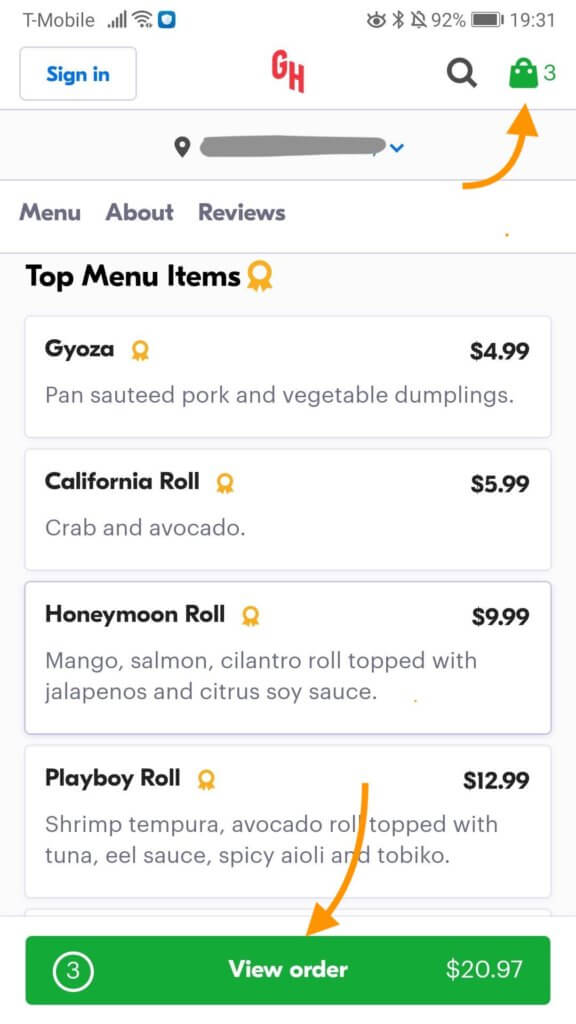 Image of Grubhub's website highlighting the bag icon and the 'view order' button to see what's in your bag.