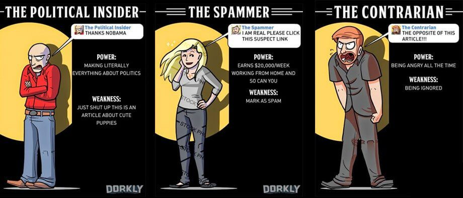 An infographic on three types of trolls: the political insider, the spammer, the contrarian