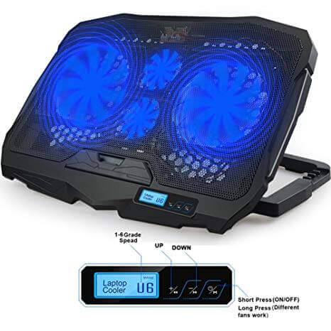 Cooling fans used for computers, the fan is black and has four fan blades, two small and two large, which are all neon blue.