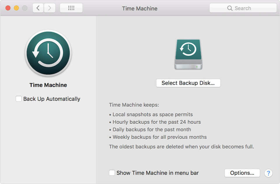 """A screenshot of Time Machine on Mac OS and how to select """"Use Disk"""""""