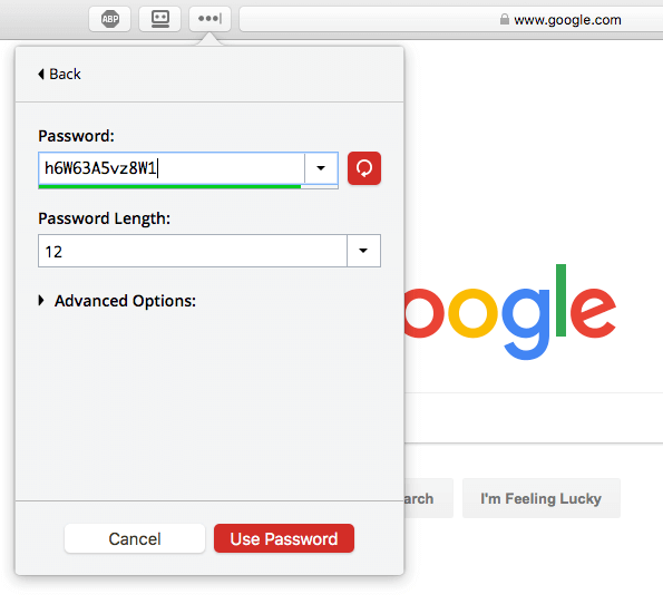 LastPass recent logins menu