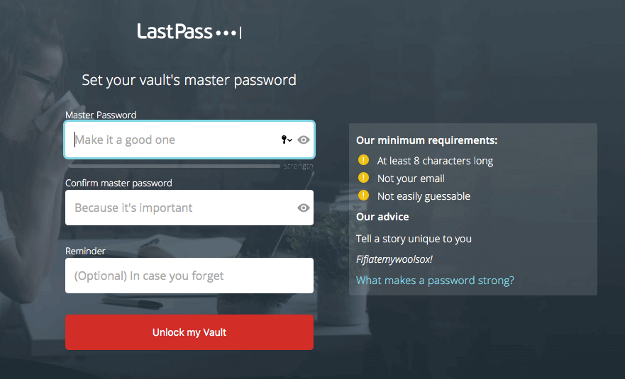 LastPass choosing master password