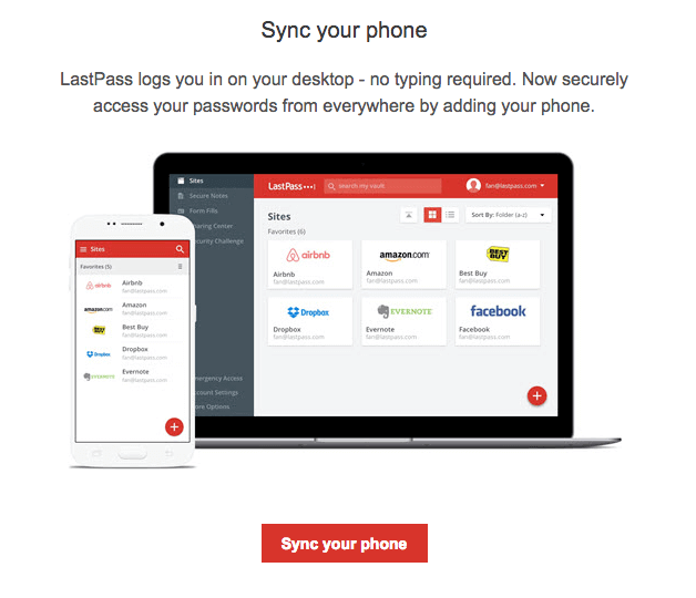 LastPass welcome email sync with mobile phone