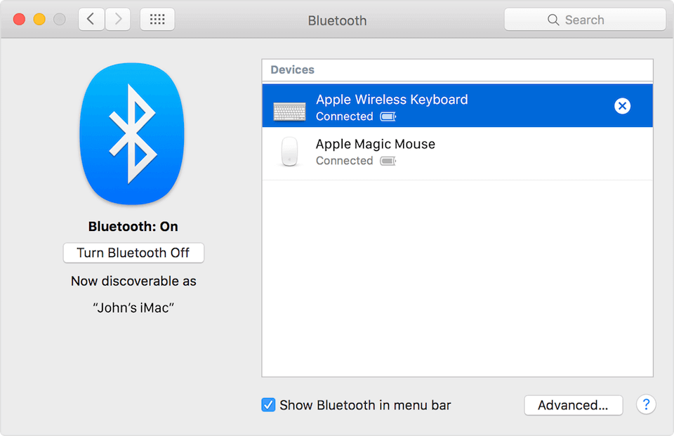 A screenshot of Mac Bluetooth settings and how to attach Bluetooth keyboards and mouse