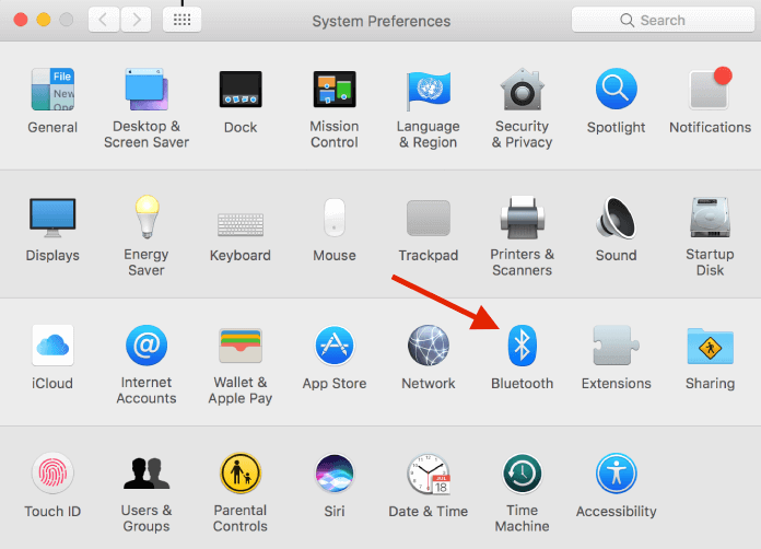 A screenshot of Mac System Preferences and where to select the Bluetooth settings