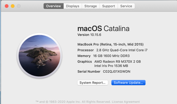 A screenshot of macOS, showing the overview of the macOS currently on the Mac device.