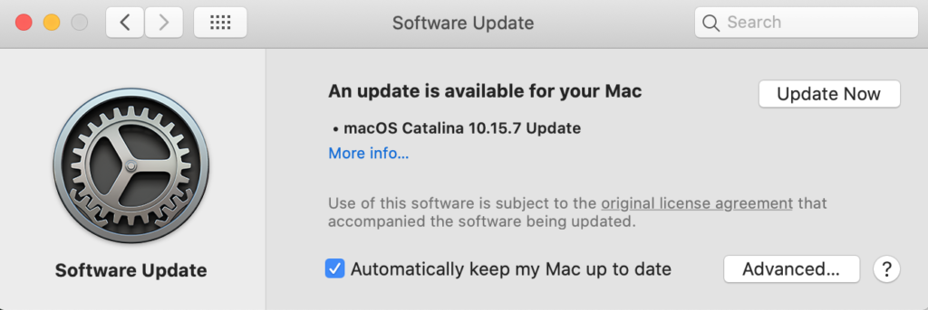 A screenshot of macOS, showing software update notification message.