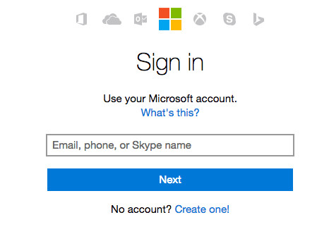 Microsoft outlook.com sign in page