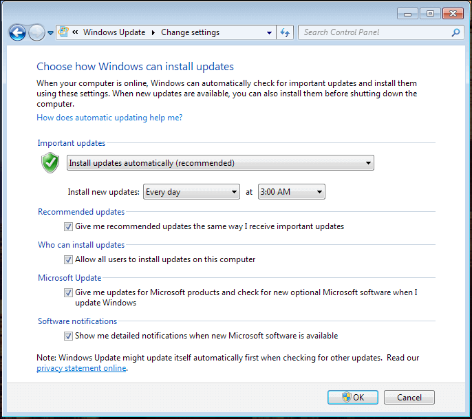 A screenshot of the Change Settings in Windows Update.