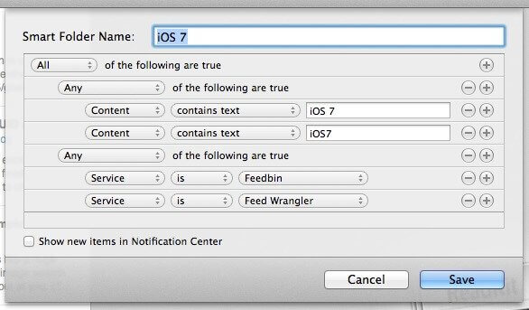 A screenshot of the creation of a Mac's Smart Folder and its settings