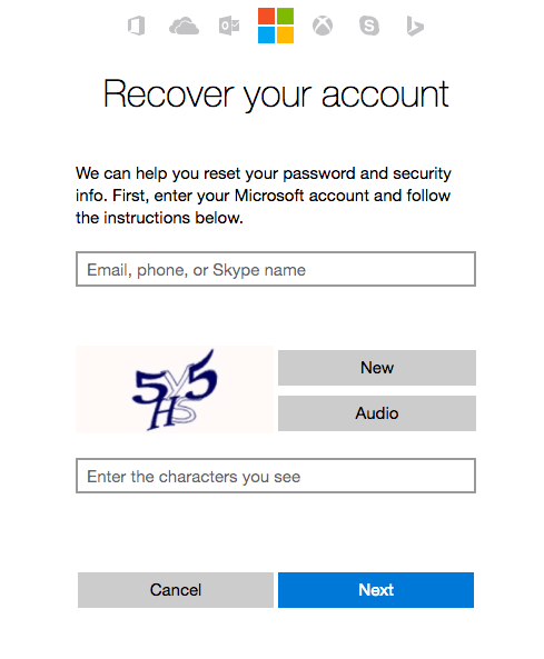 Outlook account recovery enter CAPTCHA