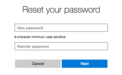 Outlook reset enter new password