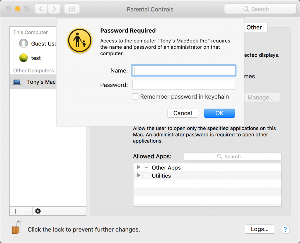 A screenshot of a Mac being set up to require password to access device.