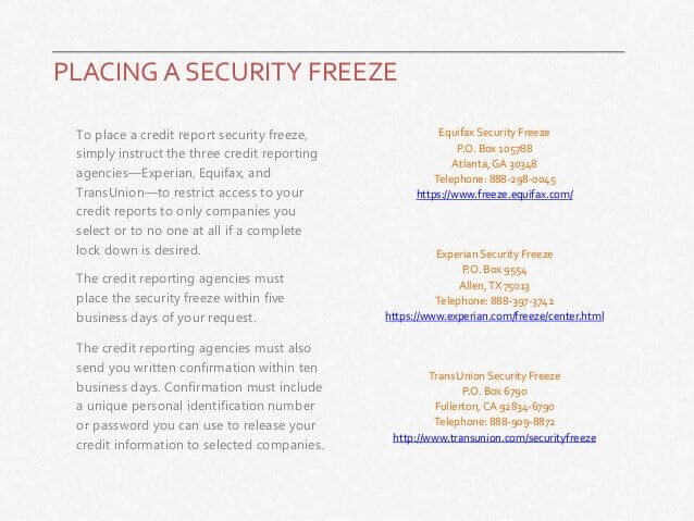 Placing a security freeze on credit history
