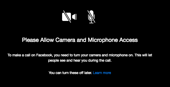 A screenshot of Facebook Messenger notice to allow camera and microphone access